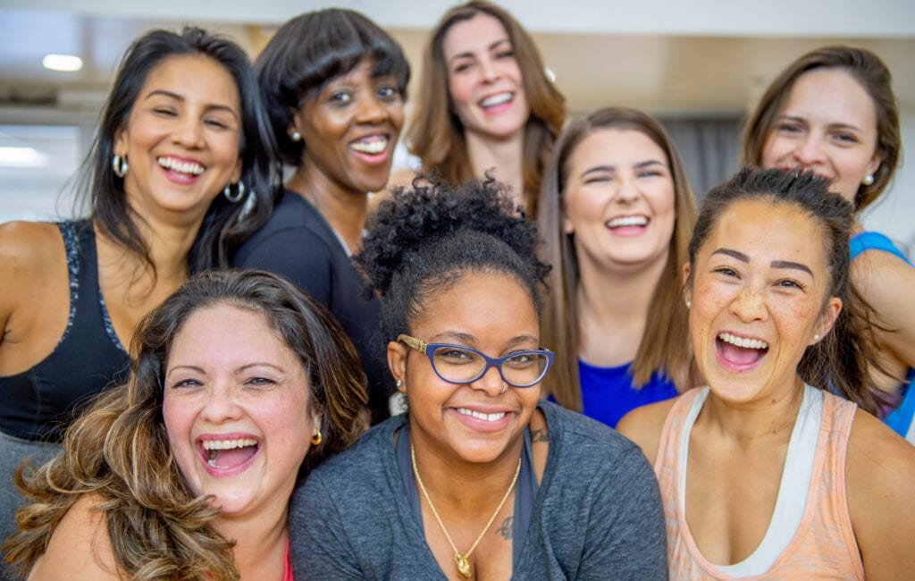 Group of Fitness Women smiling to the camera