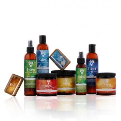 Collection of itiba's natural beauty products