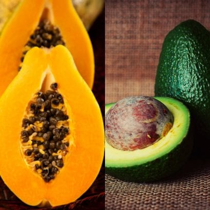 Caribbean fruits Papaya and Avocado, caribbean bush medicines
